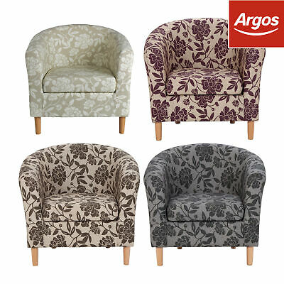 Argos Home Floral Fabric Tub Armchair Chair - Charcoal/Chocolate/Natural/Purple