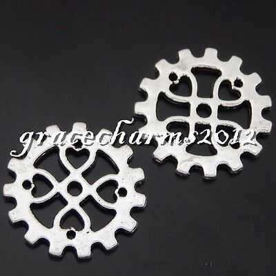 15x Vintage Silver Alloy Hollow Wheel Gear Pendants Findings Charms Crafts 50651