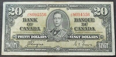 1937 J/e Bank Of Canada $20 Dollars Circulated Condition Note, Lot#31
