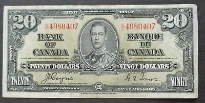 1937 K/e Bank Of Canada $20 Dollars Circulated Condition Note, Lot#32