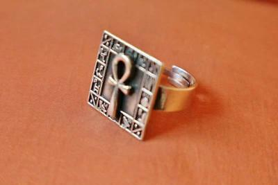 Oxidized Antique Silver Ring Band of Ancient Egyptian Ankh Cross Key..Adjustable
