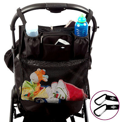 BTR Slimline Buggy Organiser Pram Bag With Shopping Net PLUS 2 x Pram Clips