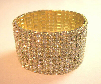 10 Rows Shinning Crystal Wedding Party Elastic Bracelet Gold Plated SL109