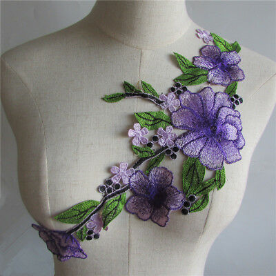 purple Lace Collar Trim Applique Patch Sewing Trimming Craft YL323