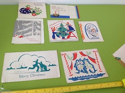 RETRO 1930s 40s VINTAGE CHRISTMAS PAPER SEASONS GREETINGS GOOD WISHES CARDS X 6