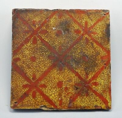 17Th/18Th Century Glazed Tile With Floral Desighn (420G)