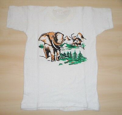 AUTHENTIC VINTAGE 1960's UNWORN BOYS WHITE ELEPHANT PRINT T-SHIRT AGE 3-4 YEARS