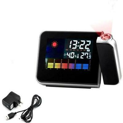 Projection Digital Weather LCD Alarm Clock Color Display LED Backlight Snooze