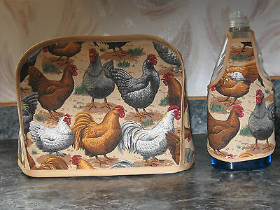 Chickens Hens on tan cotton fabric Handmade 2 slice toaster cover (ONLY)