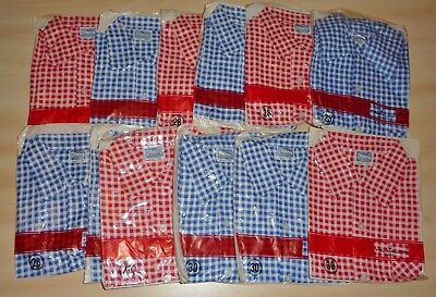 12 x VINTAGE 1970's UNWORN GIRLS CHECK PATTERN BLOUSES ASSORTED COLOURS & SIZES