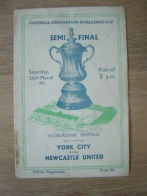 1955 FA CUP SEMI-FINAL : YORK CITY v NEWCSASTLE UNITED @ SHEFFIELD WEDNESDAY