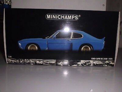 "Minichamps 1:18 FORD Capri RS 3100 - 1974 Plainbody ""blue"" in Ovp/NEU"