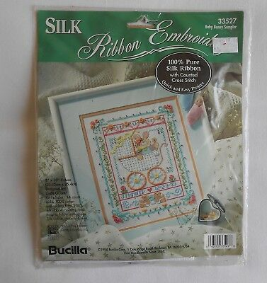 Bucilla vintage silk ribbon embroidery & cross stitch kit, sealed
