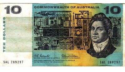 1966 Commonwealth of Australia Coombs/Wilson $10 Banknote - SAL