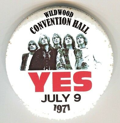 "YES 1971 Wildwood Convention Hall 3"" PINBACK Button THouse 2016"