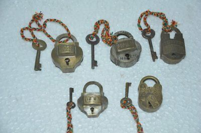 5 Pc Old Brass Handcrafted Small Size Different Padlock,Rich Patina
