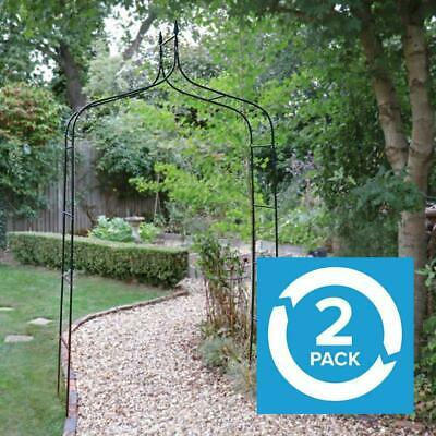 2 Pack Traditional Decorative Black Garden Arch Rose Climbing Plants Arbour Wido