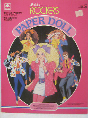 New Barbie Paper Dolls ~ 1986 Golden ~ Barbie And The Rockers ~ Uncut