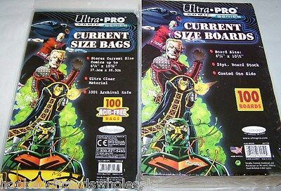 "100 each Ultra Pro 6 7/8"" Current Comic Book Backer Backing Boards & Bags"