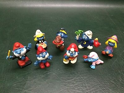 Lot of 8 Vintage Schleich Peyo Smurfs 1970s and 1980s ~ Smurfette, Papa Smurf