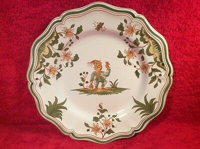 """Antique Vintage French Faience """"Grotesque"""" Moustiers Plate, ff405  GIFT QUALITY!"""