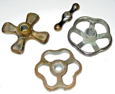 Mixed Lot of 4 Vintage Solid BRASS Faucet Valve Handles Industrial Steampunk Art
