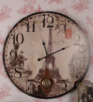 Huge Wall Clock Kitchen Paris Eiffel Tower in Vintage Country Style Pendulum New