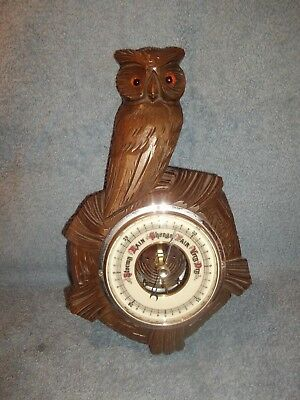 Vintage wood Black Forest style owl glass eyes barometer - Treen