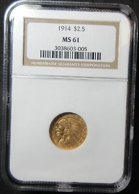 1914 $2.50 Indian Head Quarter Eagle Gold Coin - Ngc Ms 61
