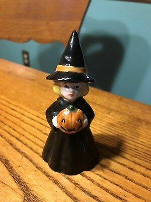 Vintage Enesco Sweet Witch Holding A Pumpkin Figurine