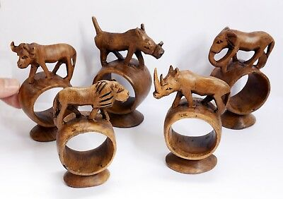 Set of Vintage Carved Wooden Animal Napkin Rings. Each from Single Piece of Wood