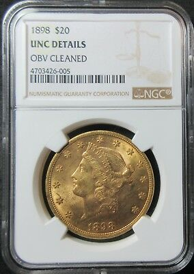 1898 $20 Liberty Head Eagle .96750 Ounce Gold Coin - Ngc Unc