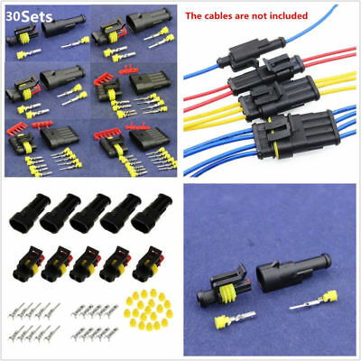 30 Set 1/2/3/4/5/6 Pin Way Autos Off-Road Sealed Electrical Wire Connectors Plug