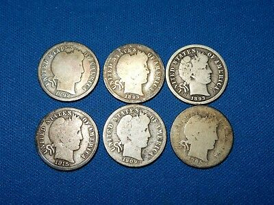 Lot of 6 Barber Silver Dimes - 1895 1909-D 1893-S 1893 1815-S 1892-O