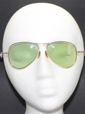 EARLY 1940s-50s GOLD TONE GREEN LENSES AVAITOR SUNGLASSES w/ CASE