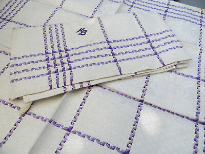 """Unused Set of 2 ( two ) Linen Towels Napkins Roses Diamonds Mono KB 20""""by21"""""""