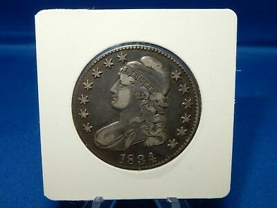 1834 Capped Bust Silver Half Dollar Coin Large Date & Letters - Very Fine