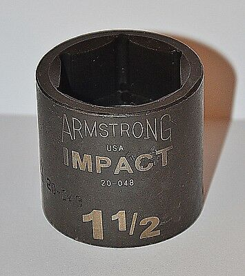 1-1/2  Inch Armstrong USA 1/2 inch drive 6 point Standard Impact Socket