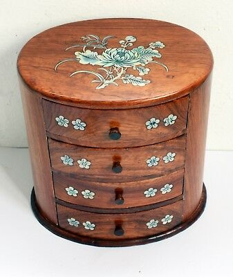 Gorgeous Small Set of Vintage Hardwood Drawers with Inlaid Mother of Pearl. 18cm