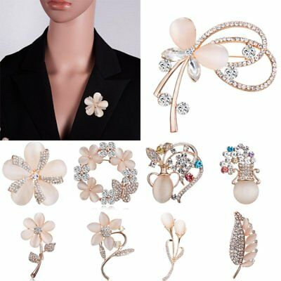 Wedding Flower Leaf Sunflower Women Lady Breastpin Crystal Brooch Pin Jewelry