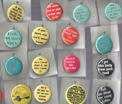 BUTTONS/PINBACKS FROM THE 1970's 23 DIFFERENT WITH FUN SAYINGS