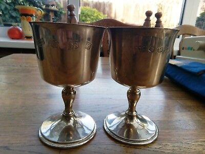 2 a t cannon solid silver hallmarked goblets