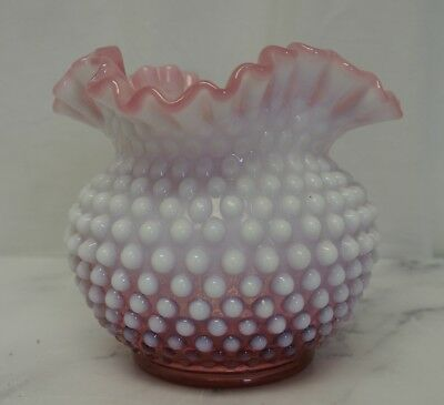 "Vintage Fenton Glass Opalescent Cranberry Pink Hobnail Vase Ruffle Top 5"" Tall"