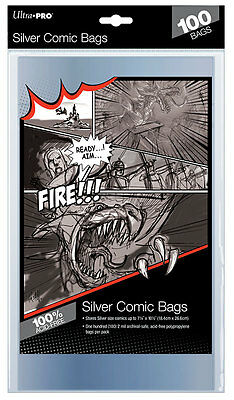 "1 Pack of 100 Ultra Pro 7 1/4"" Silver Age Comic Book Storage Bags Sleeves"