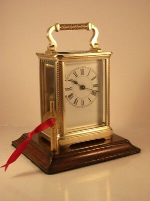 Antique Brass Carriage Clock With Pretty Filigree Decoration. Key.