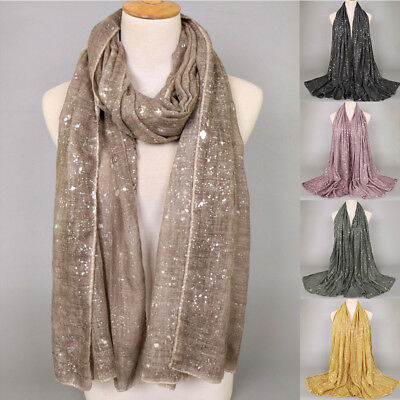 Women Ladies Long Fashion Silver Pattern Hijab Muslim Shawl Scarf Winter Scarves
