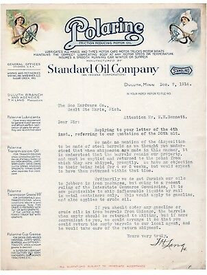 1914 Color Illustrated Standard Oil Co Polarine Motor Oil Letterhead