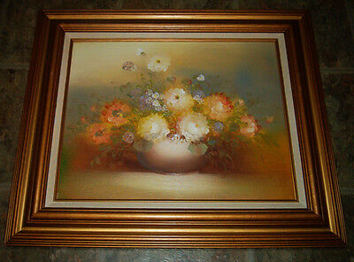 "Large FLORAL Still Life ROSES in VASE Oil On Board 28""x24""Gold Frame SIGNED NICE"