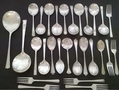 Pretty Lot of 28 x Antique Vintage Silver Plated Fruit & Jam Spoons Forks