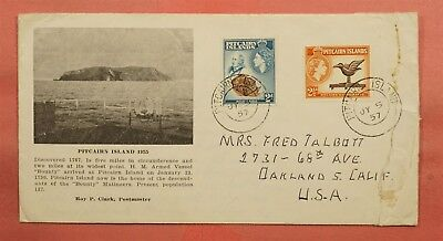 1957 Pitcairn Islands History Commemorative Cover To Usa Nice Cachet